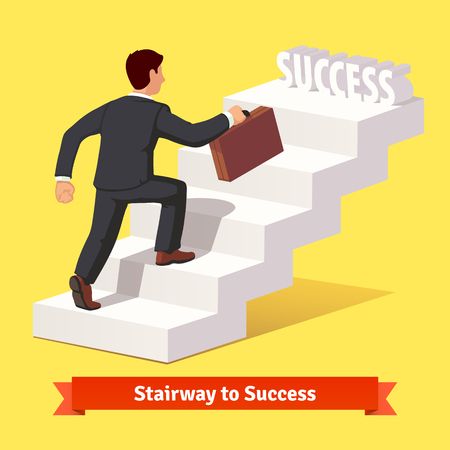 Illustration pour Businessman in black suit with suitcase climbing the staircase of success. Flat style vector illustration. - image libre de droit