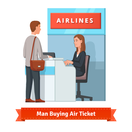 Illustration pour Young man buying a ticket for a business trip at the airport. He's assisted by a pretty woman airlines clerk. Flat style illustration or icon. EPS 10 vector. - image libre de droit