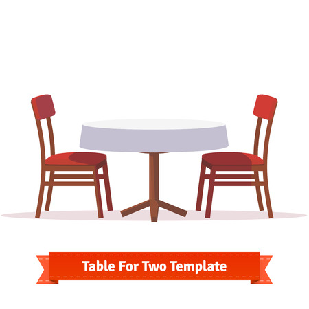 Ilustración de Dinner table for two with white cloth and red wooden chairs. Flat style illustration. EPS 10 vector. - Imagen libre de derechos
