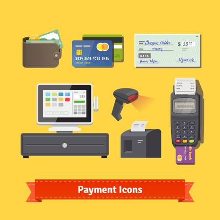 Illustration pour Payment flat icon set. All for business payments: POS terminal with barcode scanner and receipt printer, wallet, credit cards and check. EPS 10 vector. - image libre de droit