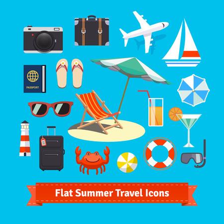 Ilustración de Flat summer travel icons. Vacation and tourism. EPS 10 vector set. - Imagen libre de derechos