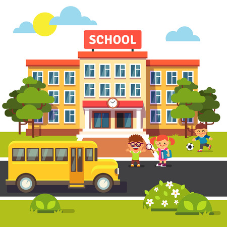 Photo pour School building, bus and front yard with students children. Flat style vector illustration isolated on white background. - image libre de droit