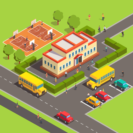 Illustration pour Isometric school building with people, courtyard and front yard, parking, bus, basketball court. Flat style vector illustration isolated on white background. - image libre de droit