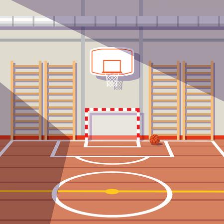 Ilustración de Sun lit school or university gym hall with soccer goal and basketball hoop. Flat style vector illustration. - Imagen libre de derechos