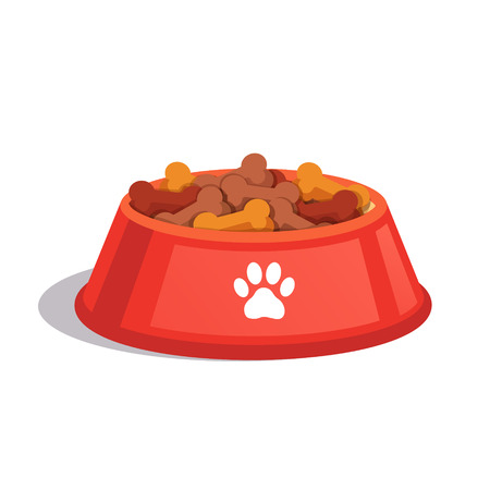 Illustration pour Dog dry food bowl. Bone shaped crisps. Flat style vector illustration isolated on white background. - image libre de droit