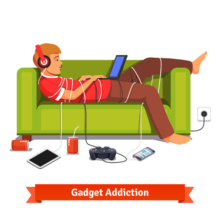 Illustration pour Lazy teen student lying down with laptop on couch tied down with technologic gadget wires. Flat style vector illustration isolated on white background. - image libre de droit