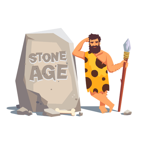 Illustration pour Stone age engraving on a big tablet rock with leaning caveman. Flat style vector illustration isolated on white background. - image libre de droit