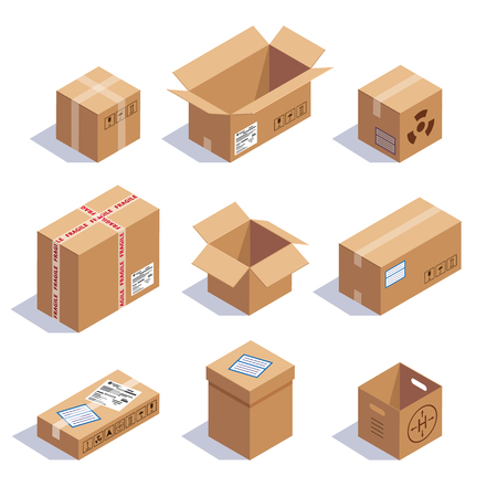 Illustration pour Collection of cardboard boxes. Opened, closed, sealed, cubic, big and small. Red striped and bow tied confetti explosion. Flat style vector illustration isolated on white background. - image libre de droit