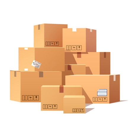 Illustration for Pile of stacked sealed goods cardboard boxes. Flat style vector illustration isolated on white background. - Royalty Free Image