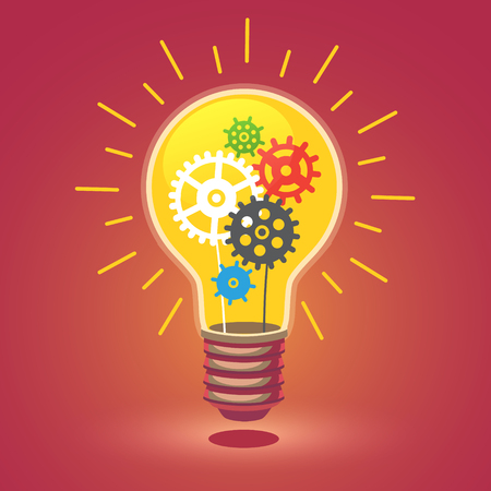 Illustrazione per Shining bright idea light bulb with cogs. Flat style vector illustration isolated on white background. - Immagini Royalty Free
