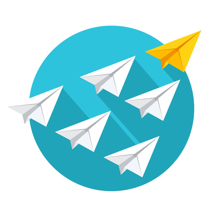 Ilustración de Leadership and teamwork concept. Group of paper planes flying behind the yellow leader. Flat style vector illustration isolated on white background. - Imagen libre de derechos