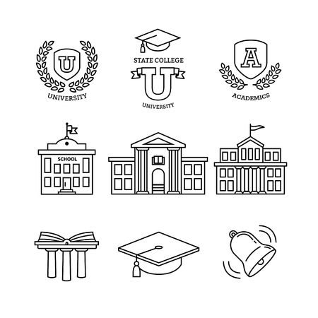 Photo pour Mortar board, education, school, academy, college and university, library emblems and buildings. Thin line art icons set. Modern black symbols isolated on white for infographics or web use. - image libre de droit