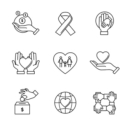 Illustration pour Support and care icons thin line art set. Black vector symbols isolated on white. - image libre de droit