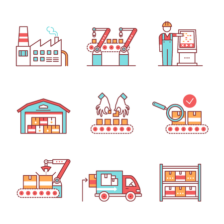 Illustration pour Modern robotic and manual manufacturing assembly lines. Packaging, loading and warehouse inventory. Thin line art icons set. Flat style illustrations isolated on white. - image libre de droit