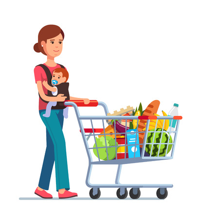 Ilustración de Young mother with son baby toddler in a sling pushing supermarket shopping cart full of groceries. Flat style vector illustration isolated on white background. - Imagen libre de derechos