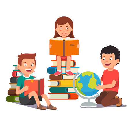Ilustración de Group of kids studying and learning together. Boys and girl reading books and doing homework. Flat style vector illustration isolated on white background. - Imagen libre de derechos