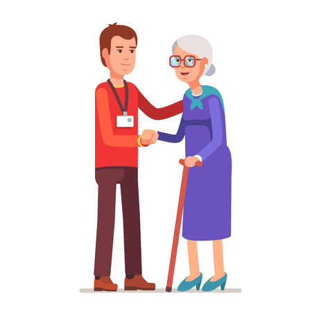 Ilustración de Young man with badge helping an old lady. Elder people care and nursing. Flat style vector illustration isolated on white background. - Imagen libre de derechos