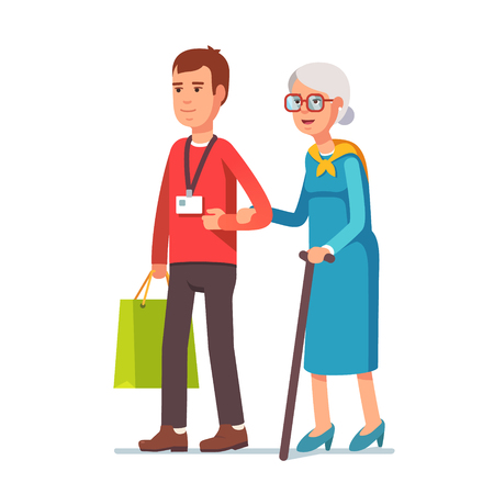 Illustration for Young man social worker helping elder grey haired woman with grocery shopping. Strolling with old lady. Flat style vector illustration isolated on white background. - Royalty Free Image