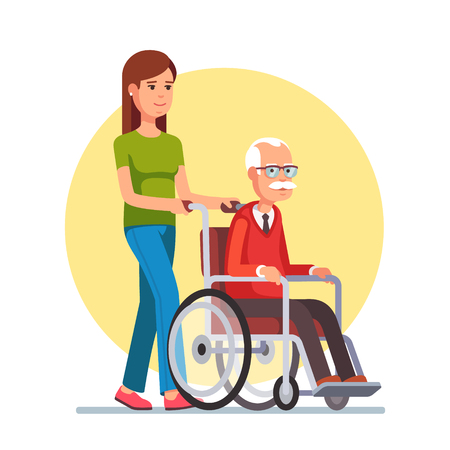 Illustration for Young woman social worker strolling with elder grey haired man in wheelchair. Flat style vector illustration isolated on white background. - Royalty Free Image