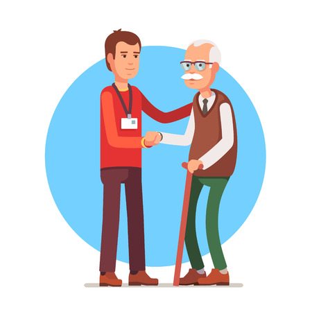 Illustration for Young man social worker helping elder grey haired man standing with a cane. Flat style vector illustration isolated on white background. - Royalty Free Image