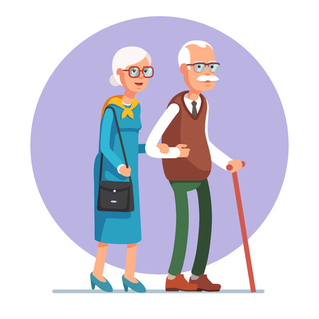 Illustration pour Senior lady and gentleman with silver hair walking together arm-in-arm. Old age couple. Flat style vector illustration isolated on white background. - image libre de droit