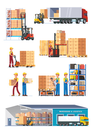 Illustrazione per Logistics illustrations collection. Warehouse center, loading trucks, forklifts and workers. Modern flat style vector illustration isolated on white background. - Immagini Royalty Free