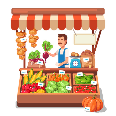 Ilustración de Local market farmer selling vegetables produce on his stall with awning. Modern flat style realistic vector illustration isolated on white background. - Imagen libre de derechos
