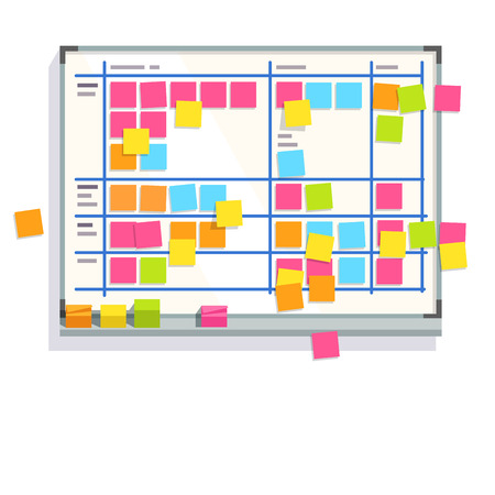 Illustration pour Scrum task board whiteboard hanging in a team room full of tasks on sticky note cards. Scrum board story test driven development process. Flat style color modern vector illustration. - image libre de droit