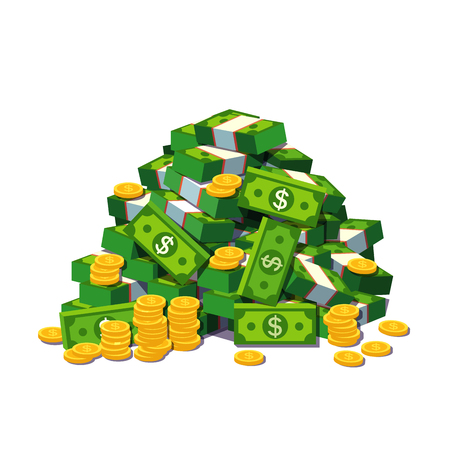 Illustration for Big pile of cash money and some gold coins. Heap of packed dollar bills. Flat style modern vector illustration isolated on white background. - Royalty Free Image
