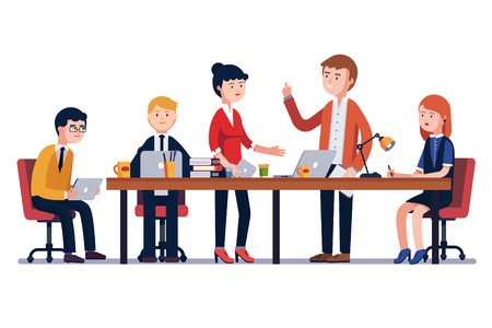 Illustration pour Business man meeting at a big conference desk. Startup company. People working together. Modern colorful flat style vector illustration isolated on white background. - image libre de droit