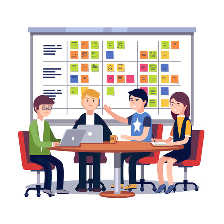 Illustration pour Team working together on a big IT startup business. Scrum task board hanging in a team room full of tasks on sticky note cards. Flat style vector illustration isolated on white background. - image libre de droit