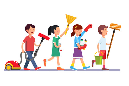 Ilustración de Kids cleaning team doing household chores. Inspired boys and girls cleaners walking in row line with vacuum, brooms and water bucket. Colorful flat style cartoon vector illustration. - Imagen libre de derechos