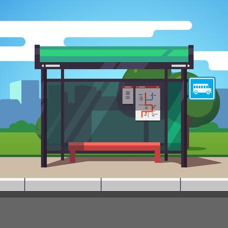 Ilustración de Empty suburban road bus stop with city transportation scheme placard inside and sign. Colorful flat style cartoon vector illustration. - Imagen libre de derechos