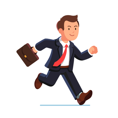 Illustrazione per Business man in suit and red tie running fast holding briefcase. Fast run of businessman. Flat style vector illustration isolated on white background. - Immagini Royalty Free
