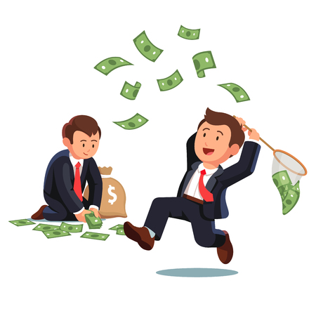 Illustration pour Businessman trying to catch flying money with a butterfly net and business man gathering dollar banknotes to a money sack. Opportunity to scoop some dollar bills. Flat style vector illustration. - image libre de droit