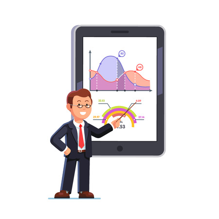 Illustration pour Standing business teacher wearing glasses pointing with wooden pointer stick at huge tablet or interactive board showing statistical data graphs. Flat style vector illustration. - image libre de droit