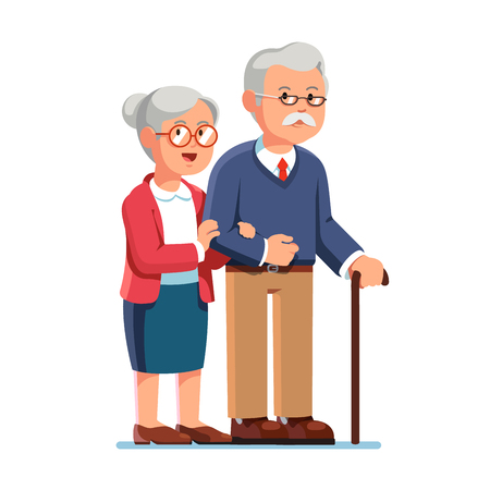 Ilustración de Old senior man and aged woman standing together - Imagen libre de derechos