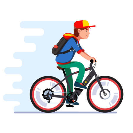 Illustration pour Teenager boy riding fast modern electric bicycle Vector illustration. - image libre de droit