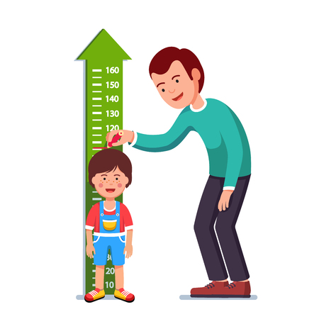 Illustration pour Teacher or father measuring boy kid height Vector illustration. - image libre de droit