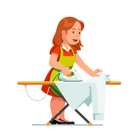 Illustration for Young housewife woman ironing shirt using iron and board. Housekeeper girl in dress and apron doing housework job. Flat style vector illustration isolated on white background. - Royalty Free Image