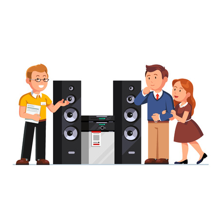 Illustration pour Shop assistant showing three-way hi-fi stereo system floor standing tower speakers to customers family couple at electronics retail store. Flat style vector illustration isolated on white background. - image libre de droit