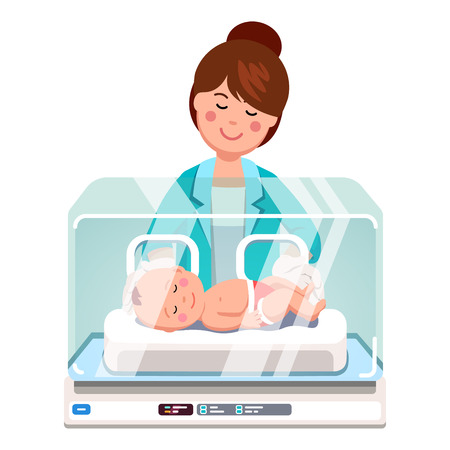 Ilustración de Pediatrician doctor woman or nurse examining little newborn baby inside medical intensive care unit incubator box. Child care clinic. Flat style vector illustration isolated on white background. - Imagen libre de derechos