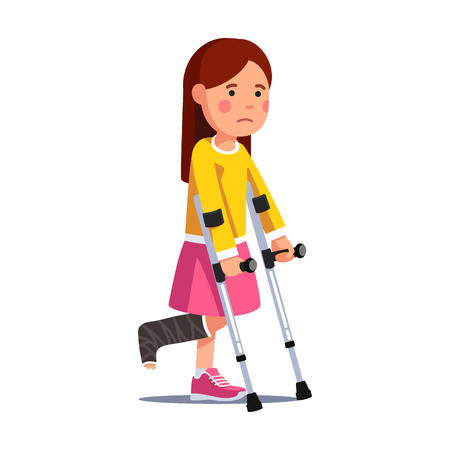 Illustration for Girl with broken leg bandage walking with crutches - Royalty Free Image