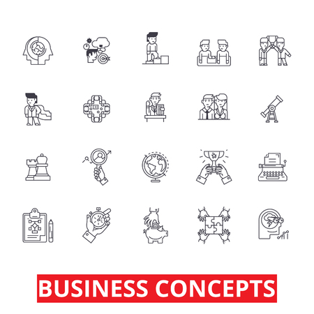 Illustration pour Business metaphor, meeting, ideas, conversations, team, management, strategy line icons. Editable strokes. Flat design vector illustration symbol concept. Linear signs isolated on white background - image libre de droit