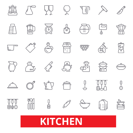 Illustration pour Kitchen cooking tools, restaurant utensils, cookware, kitchenware, food preparation icons. Editable strokes. Flat design vector illustration symbol concept. Line signs isolated on white background - image libre de droit