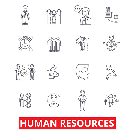 Illustration for Human resources, people, hiring employee, hr organization, marketing, management line icons. Editable strokes. Flat design vector illustration symbol concept. Linear signs isolated on white background - Royalty Free Image
