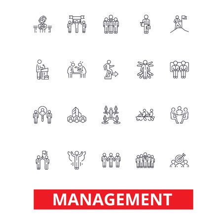 Illustration for Management, teamwork, marketing, strategy, human resources, organization line icons. Editable strokes. Flat design vector illustration symbol concept. Linear signs isolated on white background - Royalty Free Image