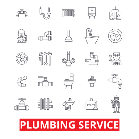 Illustration pour Plumbing service, pipes, heating, tools, plumber, water, plum, bathroom, hvac line icons. Editable strokes. Flat design vector illustration symbol concept. Linear signs isolated on white background - image libre de droit