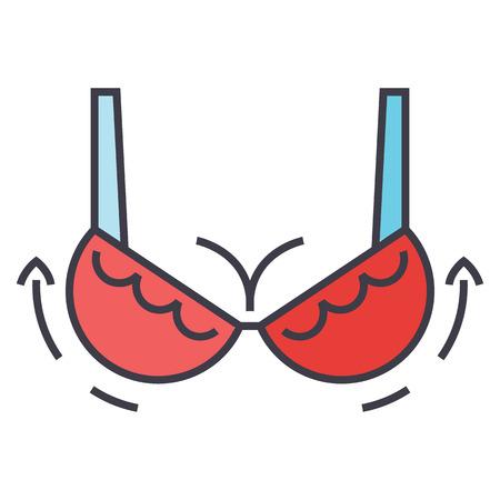 Illustration pour Woman bra, breast augmentation concept. Line vector icon. Editable stroke. Flat linear illustration isolated on white background - image libre de droit