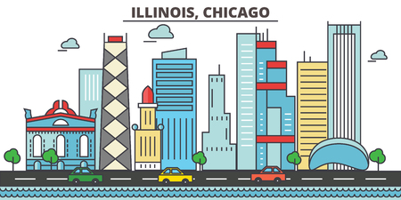 Illustration pour Illinois, Chicago.City skyline: architecture, buildings, streets, silhouette, landscape, panorama, landmarks. Editable strokes. Flat design line vector illustration concept. Isolated icons - image libre de droit